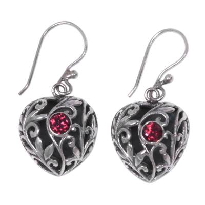 Sterling Silver Heart Earrings with Passionate Red Garnets