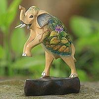 Wood statuette, 'Morning Happiness I' - Hand-carved Crocodile Wood Elephant Statuette from Indonesia