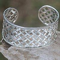 Featured review for Sterling silver cuff bracelet, Semarapura Weaving II