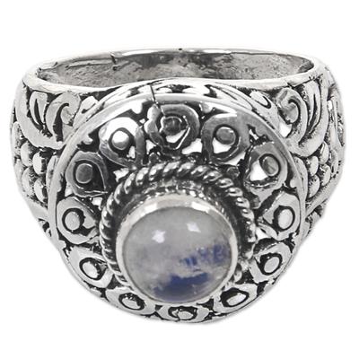 Rainbow moonstone cocktail ring, 'Ocean Moon' - Handcrafted Rainbow Moonstone Gem Sterling Silver Ring