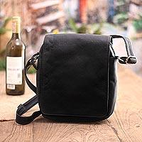 Leather shoulder bag, 'Kingdom Traveler'
