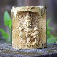Wood statuette, 'Lord Ganesha' - Crocodile Wood Statuette of Lord Ganesha from Bali