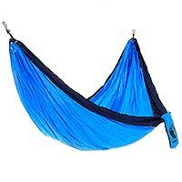Nylon parachute hammock, 'Wave Wrangler for HANG TEN' (single) - Nylon Parachute Silk Bright Blue and Navy Single Hammock