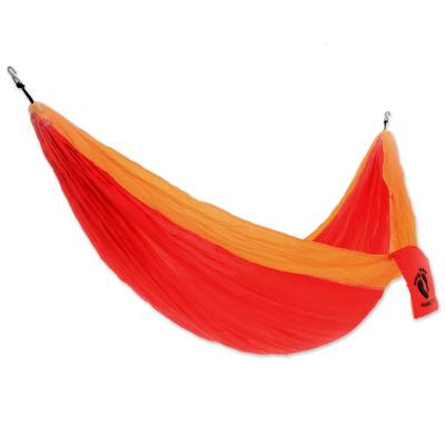 Hang Ten Nylon parachute hammock, 'Blazing Sun for HANG TEN' (double) - Red and Orange Double Wide Nylon Parachute Silk Hammock