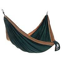 Hang Ten Nylon parachute hammock, 'Back Woods for HANG TEN' (double) - Double Wide Nylon Parachute Silk Hammock in Green and Brown