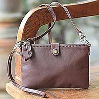 Leather wristlet or shoulder bag, 'Versatile Chic' - Leather Shoulder Bag Clutch Wallet