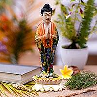 Wood sculpture, 'Buddha Praying' - Hand Carved Wood Sculpture of Buddha from Indonesia