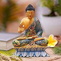 Wood sculpture, 'Vitarka Mudra Buddha' - Hand Carved Wood Sculpture of Buddha Mudra from Indonesia