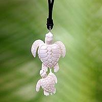 Bone and leather pendant necklace, 'Swimming with Mother' - Handcrafted White Turtle Pendant and Leather Cord Necklace