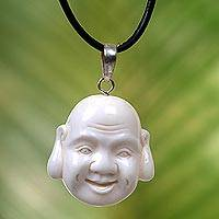 Bone and leather pendant necklace, 'Jovial Balinese Buddha'