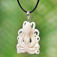Bone and leather pendant necklace, 'White Bali Octopus' - White Octopus Pendant Necklace Hand Carved of Bone