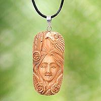 Bone pendant necklace, 'Lady of the Woods' - Carved Bone Pendant Necklace with Eagle Made in Indonesia