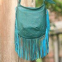 Leather shoulder bag, 'Turquoise Java Stars' - Handmade Fringed Turquoise Leather Shoulder Bag from Bali