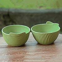 Small ceramic bowls, 'Green Banana Leaves' (pair) - Hand Made Green Ceramic Bowls (Pair) from Indonesia