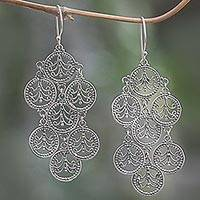 Sterling silver chandelier earrings, 'Dancing Lace Medallions' - Feminine Sterling Silver Chandelier Earrings Crafted in Bali