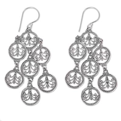 Sterling silver chandelier earrings, 'Dancing Lace Medallions' - Feminine Sterling Silver Chandelier Earrings Crafted in Bali