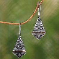 Gold accent dangle earrings, 'Ancient Temple Bells' - Balinese Sterling Silver Earrings with 18k Gold Accents