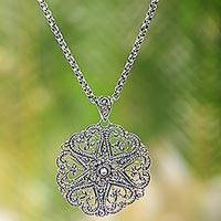 Sterling silver pendant necklace, 'Bouquet of Hearts'
