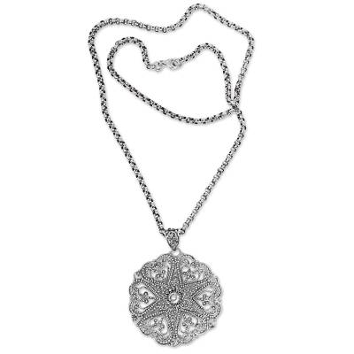 Sterling silver pendant necklace, 'Bouquet of Hearts' - Indonesian Handcrafted Lacy Sterling Silver Heart Necklace