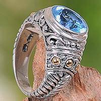 Gold accent blue topaz cocktail ring, 'Rembulan Sparkle' - Handcrafted Gold Accent Sterling Silver Ring with Blue Topaz