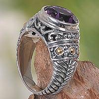 Gold accent amethyst cocktail ring, 'Rembulan Sparkle' - Gold Accent Amethyst Silver 925 Ring Handcrafted in Bali