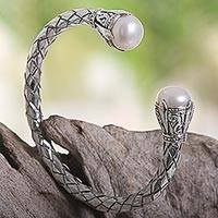 Cultured pearl cuff bracelet, 'White Torchiere' - Balinese Cultured Pearl and Sterling Silver Cuff Bracelet