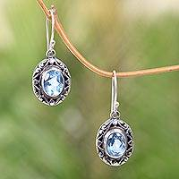 Blue topaz dangle earrings, 'Petite Perfection' - Petite Handcrafted Blue Topaz Earrings in Sterling Silver