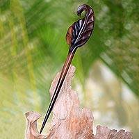 Wood hair pin, 'Bay Leaf' - Sono Wood Hand-Carved Bay Leaf Hair Pin from Indonesia