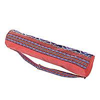 Cotton yoga mat bag, 'Troso Dawn' - Hand Woven Cotton Lined Yoga Bag with One Inner Pocket