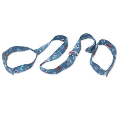 Cotton batik yoga mat strap, 'Blue Palembang Stars' - Blue Cotton Batik Adjustable Yoga Mat Strap