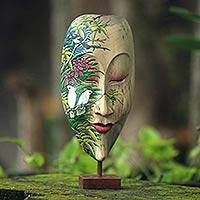Wood mask, 'Forest Beauty' - Hibiscus Wood Mask of Woman with Forest and Bird Motif