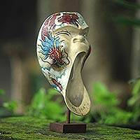 Wood mask, 'Dragon Scream' - Dragon Theme Balinese Hibiscus Wood Mask on Stand