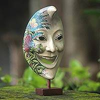 Wood mask, 'Smiling Moon Man' - Artisan Crafted Hand Painted Moon Mask and Stand from Bali