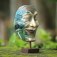 Wood mask, 'Blissful Smile' - Hand Carved and Painted Modern Balinese Mask and Stand