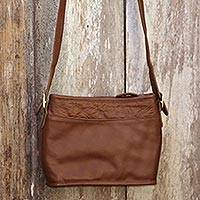 Leather sling bag, 'Malioboro in Brown' - Brown Leather Sling Handbag with Adjustable Strap