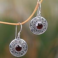 Garnet dangle earrings, 'Balinese Aura'
