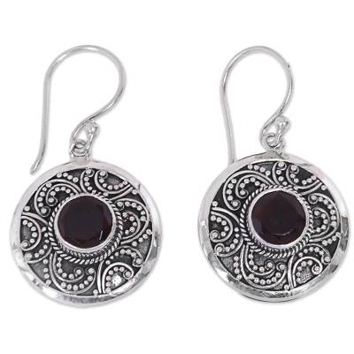 Garnet dangle earrings, 'Balinese Aura' - Handcrafted Balinese Sterling Silver Garnet Earrings