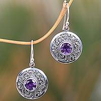 Amethyst dangle earrings, 'Balinese Aura'