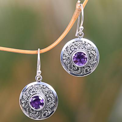 Amethyst dangle earrings, 'Balinese Aura' - Balinese Fair Trade Amethyst Sterling Silver Earrings