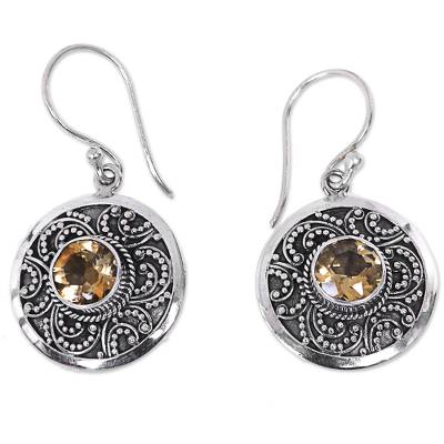 Citrine dangle earrings, 'Balinese Aura' - Sterling Silver Fair Trade Citrine Earrings from Bali