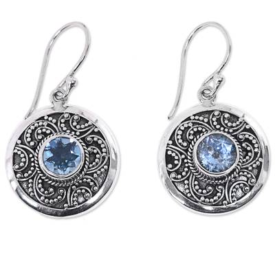 Blue topaz dangle earrings, 'Balinese Aura' - Traditional Balinese Silver Earrings with Blue Topaz