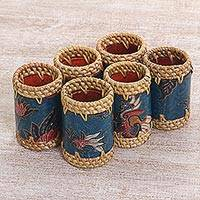 Batik cotton and ate grass napkin rings, 'Lombok Flowers in Blue' (set of 6) - Batik Napkin Rings Floral Blue (Set of 6) Indonesia