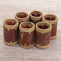 Batik cotton and ate grass napkin rings, 'Lombok Flowers in Brown' (set of 6) - Batik Napkin Rings Floral Brown (Set of 6) from Indonesia