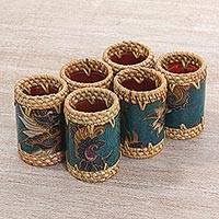 Batik cotton and ate grass napkin rings, 'Lombok Flowers in Teal' (set of 6) - Ate Grass Batik Napkin Rings Teal (Set of 6) from Indonesia