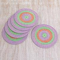 Woven placemats, 'Lombok Sunset' (set of 6) - Hand Made Bamboo Placemats Purple Green (Set of 6) Indonesia