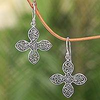 Sterling silver dangle earrings, 'Melati Cross' - Handcrafted Floral Silver Cross Shaped Earrings from Bali