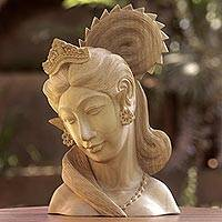 Wood sculpture, 'Balinese Beauty'