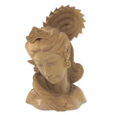 Wood sculpture, 'Balinese Beauty' - Hand Carved Wood Sculpture Bust of Woman from Indonesia