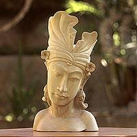Wood sculpture, 'Handsome Balinese Man'