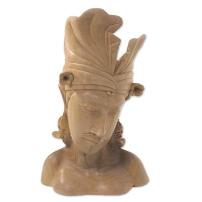 Wood sculpture, 'Handsome Balinese Man' - Hand Carved Wood Sculpture Bust of Man from Indonesia